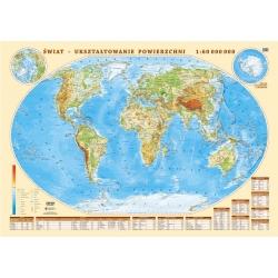 Świat Polityczny i fizyczny 58x42cm. Mapa ścienna dwustronna.