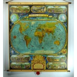 Świat w starym stylu 97x115cm. Mapa ścienna.