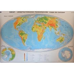 Świat ukształtowanie powierzchni/do ćwiczeń 205x140cm. Mapa ścienna dwustronna.