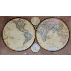 Świat Półkule 1:37mln NG Mapa ścienna 114x63cm