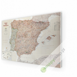 Hiszpania i Portugalia exclusive 86x57 cm. Mapa w ramie aluminiowej.