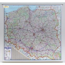 Polska Drogowa 110x98cm. Mapa ścienna.