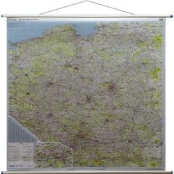 Polska Drogowa 156x142cm. Mapa ścienna.