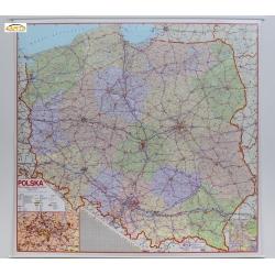 Polska Administracyjno-drogowa 188x172cm. Mapa ścienna.
