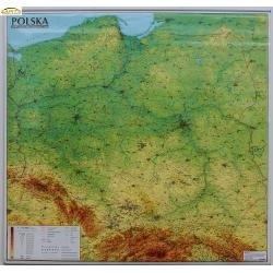 Polska fizyczna ogólnogeograficzna 124x118cm. Mapa ścienna.