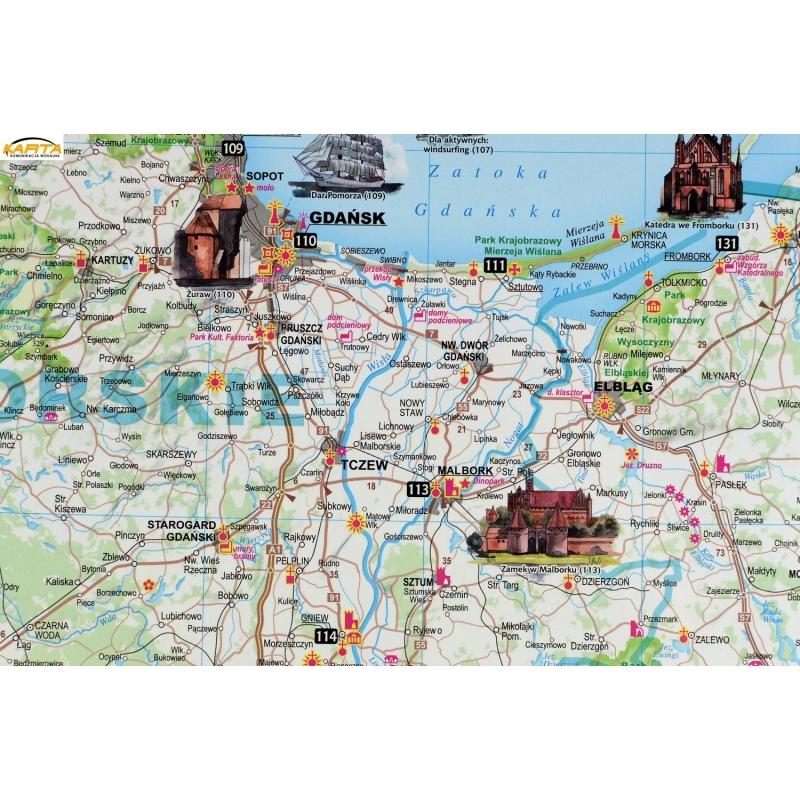 Mapa Scienna Polska Atrakcje Turyst 1 685 Tys 126 5x97cm Expressmap