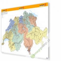 Szwajcaria Kodowa 140x90 cm. Mapa w ramie aluminiowej.