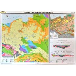 Polska budowa geologiczna 160x120cm. Mapa ścienna dwustronna.