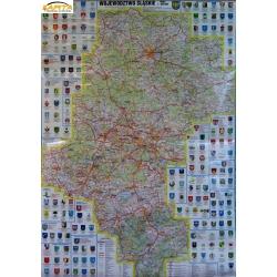 Śląskie administracyjno-drogowa 76x100cm. Mapa ścienna.