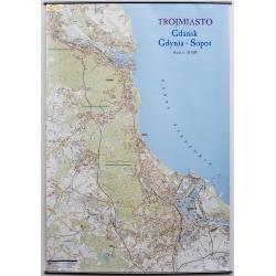 Trójmiasto. Gdańsk,Gdynia,Sopot 113x170cm . Mapa ścienna.