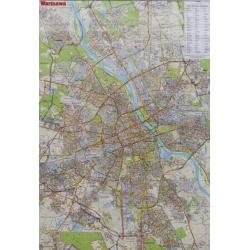 Warszawa 68x98cm. Mapa ścienna dwustronna.