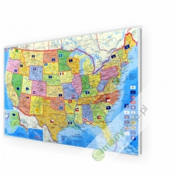 MALStany Zjednoczone USA 1:5,5mlnStief Mapa w ramie ALU kodowa 105x61 cm