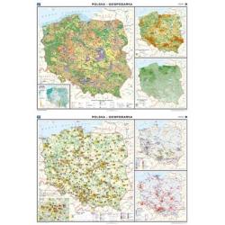 Polska gospodarka rolnictwo/przemysł 160x120cm. Mapa ścienna dwustronna.