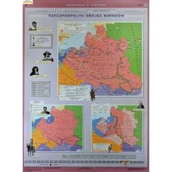Europa w XVII i XVIII wieku/Rzeczpospolita obojga narodów 120x160cm. Mapa ścienna dwustronna.
