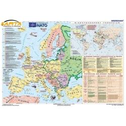 Europa, Świat, NATO 150x110cm. Mapa ścienna.