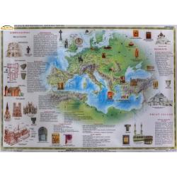 Europa. Wielkie cywilizacje średniowiecza - kultura i sztuka 166x114cm. Mapa ścienna.
