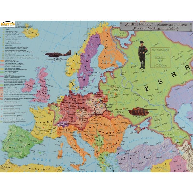 Mapa Scienna Dw Ii Wojna Swi 1939 41 1942 45 160x120cm Meridian