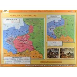 Księstwo Warszawskie/Powstanie Listopadowe 160x120cm. Mapa ścienna dwustronna.
