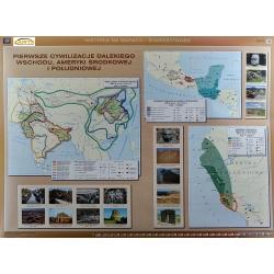 Pierwsze cywilizacje na świecie/ Dalekiego Wschodu, Ameryki Środkowej i Południowej 160x120cm. Mapa ścienna dwustronna.