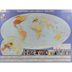 Pontyfikat Jana Pawła II 1978-2005/Papież Jan Paweł II w Polsce 160x120cm. Mapa ścienna dwustronna.