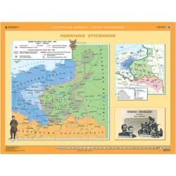 Powstanie Styczniowe/Początek XX w.na ziemiach polskich 160x120cm. Mapa ścienna dwustronna.