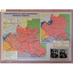 Rzeczpospolita Jana Kazimierza Odsiecz Wiednia/Rzeczpospolita w czasach Saskich 160x120cm. Mapa ścienna dwustronna.