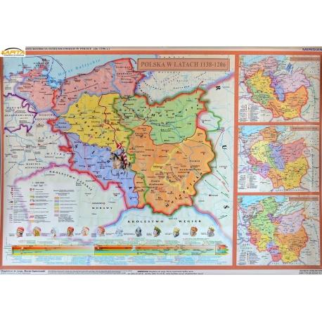 Rozbicie dzielnicowe Polski 160x120cm. Mapa ścienna.