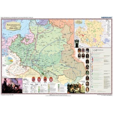 Rzeczpospolita Polska w XVII i XVIII w./Europa do połowy XVIII w. 160x120cm. Mapa ścienna dwustronna.