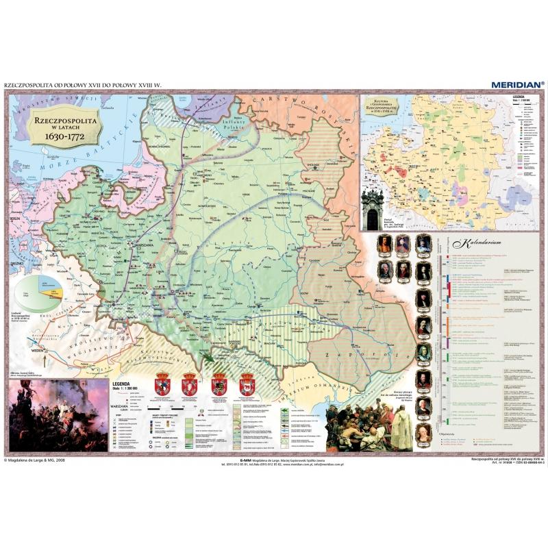Mapa Sc Dw Rzeczp Pol W Xvii I Xviii Eur Do Pol Xviii 160x120cm Meri
