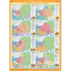Rzeczpospolita Polska/XII wieków Polski w Europie/Drzewo Genealogiczne władców 110x155cm. Mapa ścienna dwustronna.