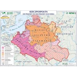 Rzeczpospolita polska od połowy XVI do połowy XVII wieku/Wielkie Odkrycia Geograficzne 140x100cm. Mapa ścienna dwustronna.