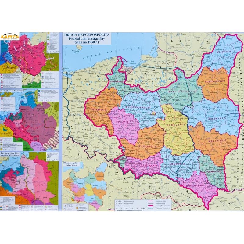 Mapa Scienna Dw Rzeczpospolita Polska Historyczna 68x50cm Demart