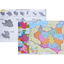 Rzeczpospolita Polska-Historyczna 68x50cm. Mapa ścienna dwustronna.