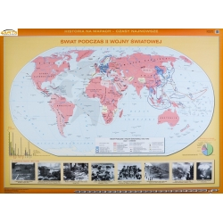 Świat podczas II wojny światowej 160x120cm. Mapa ścienna dwustronna.