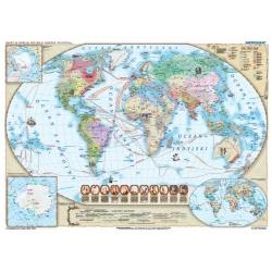 Świat w okresie wielkich odkryć XVII-XVIII w., 150x110cm. Mapa ścienna.