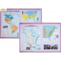 USA. Narodziny Stanów Zjednoczonych/Powstanie państw w Ameryce Północnej i Południowej 166x120cm. Mapa ścienna dwustronna.