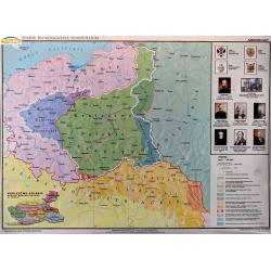 Ziemie Polskie po Kongresie Wiedeńskim 110x82cm. Mapa ścienna.