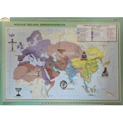 Wielkie religie średniowiecza 160x120cm. Mapa ścienna dwustronna.