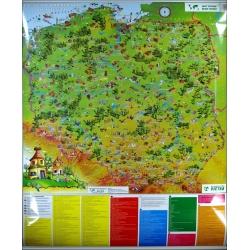 Polska w obrazkach dla dzieci 104x124cm. Mapa magnetyczna.