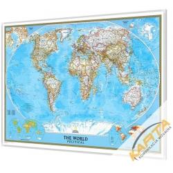Świat Polityczny 111x77cm. Mapa w ramie aluminiowej.