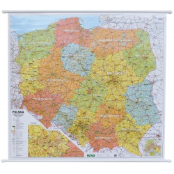 Polska Administracyjno-drogowa (tablice rejestracyjne) 105x94cm. Mapa ścienna.