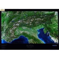 Alpy - Panorama satelitarna 105x71cm. Mapa ścienna.