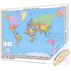Świat Polityczny 177x122cm. Mapa w ramie aluminiowej.