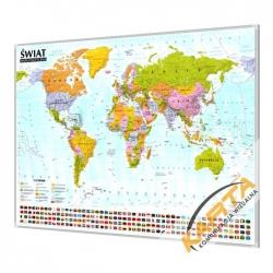 Świat Polityczny 138x95cm. Mapa w ramie aluminiowej.