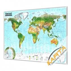 Świat fizyczny 138x97cm. Mapa w ramie aluminiowej.