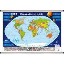 Świat Polityczny 98x70cm. Mapa w ramie aluminiowej.