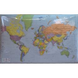Świat polityczny - porty 146x100cm. Mapa w ramie aluminiowej.