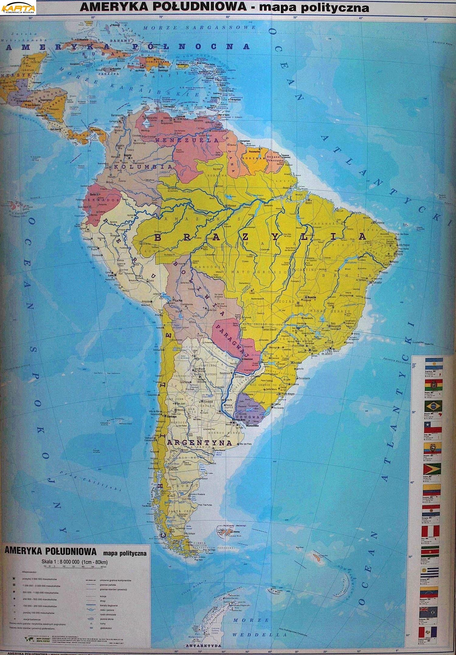 Mapa W Ramie Alu Ameryka Poludniowa Polityczna 1 8 Mln 104x140 Pietka
