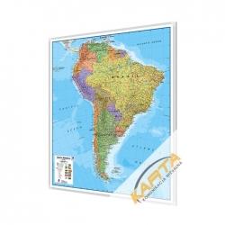 Ameryka Południowa polityczna 106x120cm. Mapa w ramie aluminiowej.