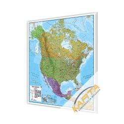 Ameryka Północna politycznanania 105x120cm. Mapa do wpinania.